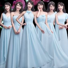 2017 new arrival light sky blue bridesmaid dress a line six styles for choose v neck long floor length off shoulder formal gown(China)