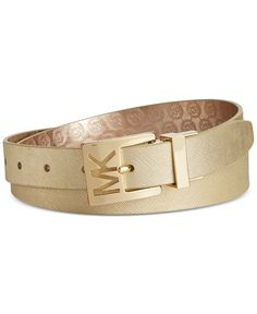 7194e7d0d MICHAEL Michael Kors Metallic Saffiano to Jetset Logo Reversible Belt &  Reviews - Handbags & Accessories - Macy's