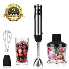 KOIOS Multi-Use Immersion Hand Blender/Mixer with Food Processor, Stainless Steel for sale online Oster Blender, Hand Blender, Best Smoothie, Smoothies, Best Immersion Blender, Best Food Dehydrator, Blender Models, Vegetable Chopper, Best Blenders