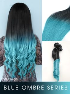 vpfashion blueshade colorful ombre indian remy clip in hair extensions series-c027