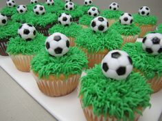 Soccer cupcakes Mcknelly Mcknelly Wheeler remember when you wanted to make soccer cake pops? Ordered similar ones for Jays JV Blue team dinner x Soccer Cake Pops, Football Cupcake Cakes, Soccer Birthday Cakes, Football Cupcakes, Football Birthday, Birthday Cupcakes, Soccer Ball Cake, Soccer Theme, Soccer Party