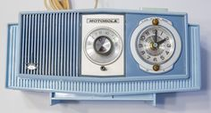 Old Motorola Clock Radio  Blue Color  Nice by DiademVintageVisuals