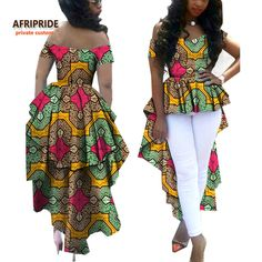2017 african women clothes AFRIPRIDE private custom V-neck off shoulder coat with long double ankle-length back plus Latest African Fashion Dresses, African Dresses For Women, African Print Dresses, African Print Fashion, African Attire, African Blouses, African Shirts, African Tops For Women, Ankle Length