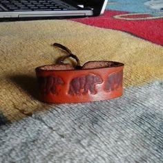 SALE  Handmade Unisex Stamped-Burned Leather Bear by ElusiveWolf