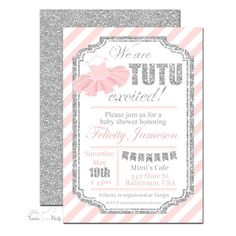 pink and silver tutu baby shower invitation tb005