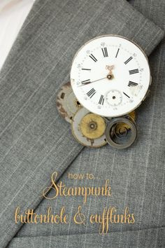 DIY Steampunk Grooms Accessories. How to make a steampunk buttonhole