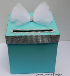 Tiffany Blue Wedding Card Box Bling Mesh Ribbon by SweetJonesin