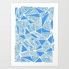triangles, geometric, blue, amy sia, monochrome,