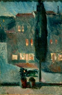 Edvard Munch (Norwegian, Cypress in Moonlight, Oil on canvas, 81 x 54 cm x inches). Edvard Munch, Wassily Kandinsky, Henri Matisse, Paul Gauguin, Nocturne, Ernst Ludwig Kirchner, Manet, Art Moderne, Klimt