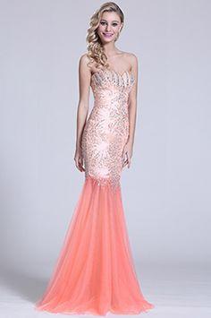 Robe de bal sirène orange bijoutée décolleté sexy (C36151010) - EUR 280,49