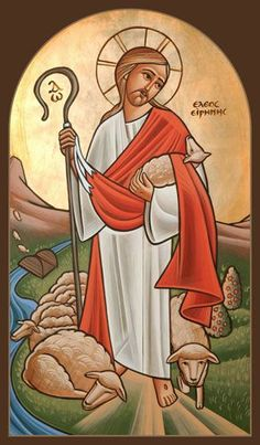 Coptic Icon of the Good Shepherd: I am the good shepherd. A good shepherd lays down his life for the sheep. Religious Images, Religious Icons, Religious Art, Christ The Good Shepherd, Lord Is My Shepherd, Good Shepard, Pictures Of Christ, Moise, Catholic Art