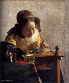 """De kantwerkster"" by Johannes Vermeer...such a brilliant artist!"