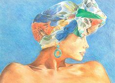 Woman and Headscarf - Pre-sightloss artwork by Arthur Ellis