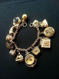 Antique Victorian Gold Filled Enamel 14k 10K Intaglio Locket Fob Charm Bracelet | eBay