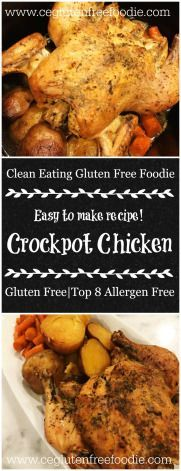 Crockpot Chicken, this easy to make slow cooker recipe is perfect for a busy day. If you omit the potatoes it is automatically nightshade free. This recipe is naturally gluten free, dairy free, soy free, wheat free and top 8 allergen free