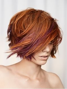 #medium length #women's haircut #purple with highlights