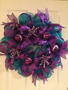 Turquoise And Purple Deco Mesh Wreath