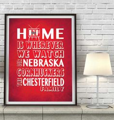"Nebraska Cornhuskers inspired Personalized Customized Art Print- ""Home Is"" Parody- Retro, Vintage-  Unframed Print"
