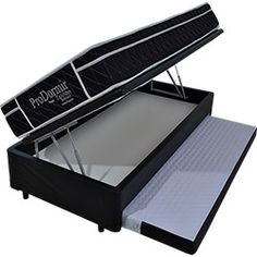 Conjunto Box Baú com Cama Auxiliar + Colchão Solteiro Probel Prodormir Specialy Black Molejo Ensacado - 88x188x60cm