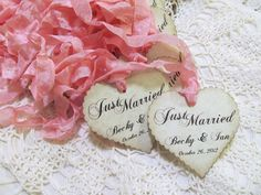 Wedding Favor Tags Hearts - Custom - Just Married - Parchment Party Favor Tags- Set of 18- Choice of Ribbon Color - Customized