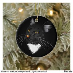 Black cat with yellow eyes in the dark ceramic ornament Magical Christmas, Christmas Fun, Christmas Ornaments, Yellow Eyes, Party Hats, The Darkest, Ceramics, Holiday Decor, Cats