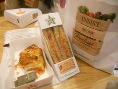 #London: Pret-A-Manger - If you're looking for some quick, healthy food that you can pick up, try Pret-A-Manger. It is a chain operation that offers freshly made, ready-to-eat sandwiches, soups, salads, pastas, snacks, and desserts.