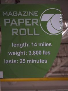 Sign in Pressroom at Wallkill Bethel. Fascinating stats on just one roll of paper used in production of our magazines.