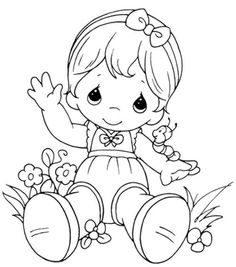 Precious Moments Sitting Relaxed Coloring Pages Printable