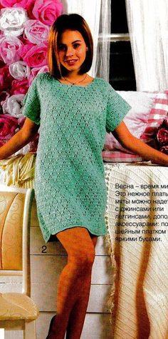 Прелестное платье-туника с несложным узором #платьекрючком #туникакрючком