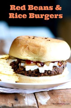 All your favorite New Orleans flavors combine in this delicious Red Beans and Rice Burgers. -- garnished with spicy dill pickles and that really made the dish Rice Veggie Burger Recipe, Vegetarian Sandwich Recipes, Burger Recipes, Veggie Burgers, Vegan Vegetarian, Vegan Recipes, Cooking Recipes, Meatless Burgers, Vegan Sandwiches