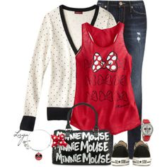 love the polka dot cardigan with a red tank. Disney World Outfits, Disney Themed Outfits, Disneyland Outfits, Disney Fashion, Disneyland Vacations, Disneyland 2017, Disney Trips, Mouse Outfit, Casual Outfits
