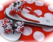 Custom Boutique Adult Womens Ladies Disney Summer Spring Vacation Red and Black MINNIE MICKEY MOUSE Ribbon Flip Flops  Mommy and Me. $33.00, via Etsy.