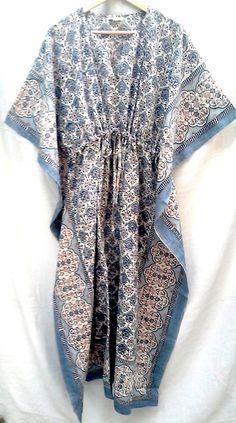 Anokhi Powder Blue & Pale Pink Jali style Hand block print Indian cotton Boho chic Kaftan Long Tunic One size
