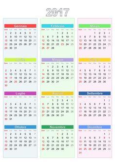 Calendario 2017  by @ilnanny, Calendario con festività Italiane, on @openclipart