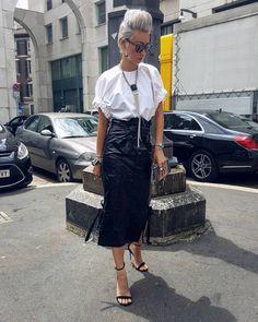 white blouse + black