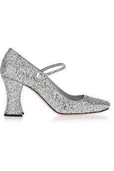 Miu Miu Glittered leather Mary Jane pumps | NET-A-PORTER
