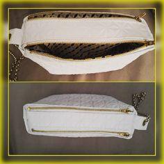 Trousse Zip-Zip cousue par Patricia - simili cuir blanc - Patron trousse compartimentée Sacôtin