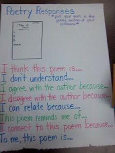 Poetry response:  Kids need to do this regardless of state standards...poetry reaches the soul