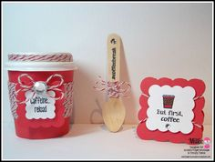 DT Millie @Twine It Up! by Annie's Paper Boutique with a super cute coffee set. Annie's Paper Boutique Products:Cherry Latte Trendy Twine, Mini Coffee Cups, Mini Wooden Spoons along with the NEED Coffee! Stamp Set.
