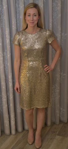 Lorna looking gorgeous in her sparkly Megan dress! - sewing pattern by Tilly and the Buttons