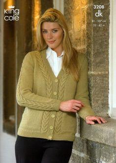 King Cole Ladies Cardigan & Sweater Merino Knitting Pattern 3208 DK