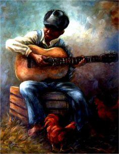 The Blues Man~Southwestern Art by Richard Harvey
