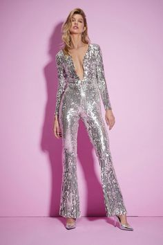 disco outfit Nasty Gal Studio Queen of the Night Sequin Jumpsuit Disco Outfits For Women, 70s Outfits, Clothes For Women, Party Outfits, Disco Costume For Women, 70s Party Outfit, Rave Outfits, Disco Jumpsuit, Sequin Jumpsuit