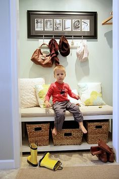 Entry closet conversion idea. Built-in bench w/baskets for shoes and hooks on sides and back. I am going to try this