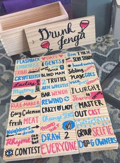 New college party games drinking drunk jenga 23 Ideas College Party Games, Fun Party Games, Adult Party Games, Diy Games, Craft Party, Diy Party, Party Favors, Ideas Party, Sleepover Party Games