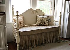 Bench out of headboard/footboard and old crib matress. Great idea. Via: DIY Your Way