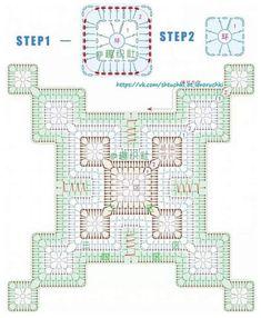 Motifs Granny Square, Granny Square Crochet Pattern, Crochet Diagram, Crochet Squares, Crochet Chart, Crochet Quilt, Crochet Blocks, Crochet Pillow, Crochet Home