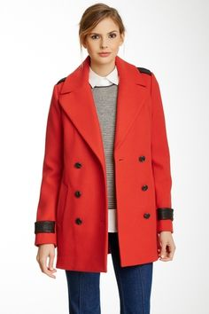 Mackage Samantha Wool Blend Peacoat with Leather Detail