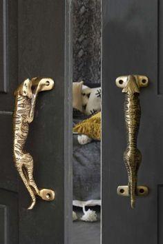 Set Of 2 Brass Jaguar Door Handles from Rockett St George. #display #knobs #handles #door #home #accessories #gold #jaguar #animal #motif #accessories