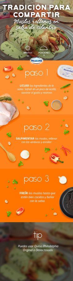 Prueba esa receta de mamá que te encanta con el toque de Philadelphia, prepara estos Muslos rellenos en salsa de cilantro. #recetas #receta #quesophiladelphia #philadelphia #crema #quesocrema #queso #comida #cocinar #cocinamexicana #recetasfáciles #recetasPhiladelphia #recetasdecocina #comer #muslos #pollo #salsa #verduras #comida #cena #recetapollo #recetasalsa #cilantro